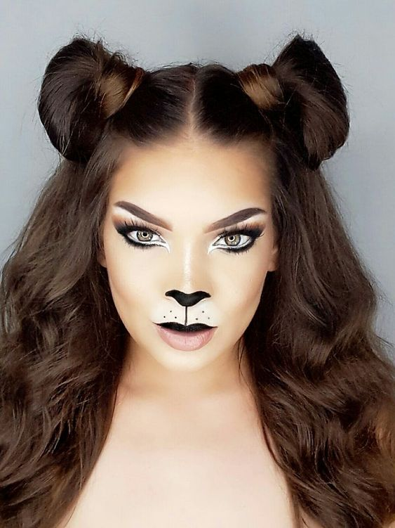 machiaj halloween petrecere costum pisica make-up
