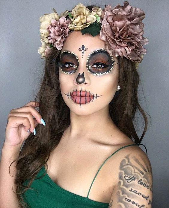 machiaj halloween petrecere dia de los muertos sarbatare mexicana