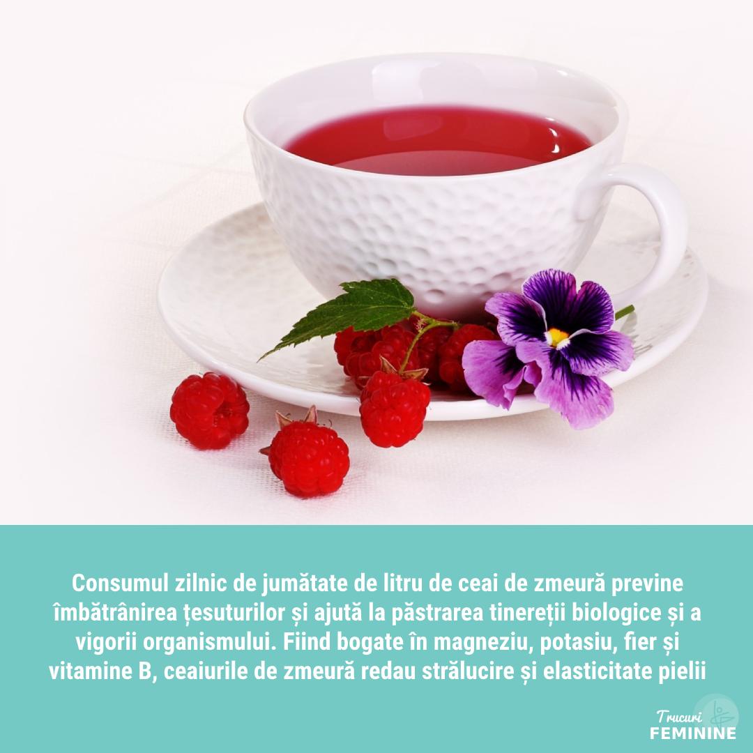Ceaiul de zmeură ajută la întinerirea organismului și previne apariția ridurilor