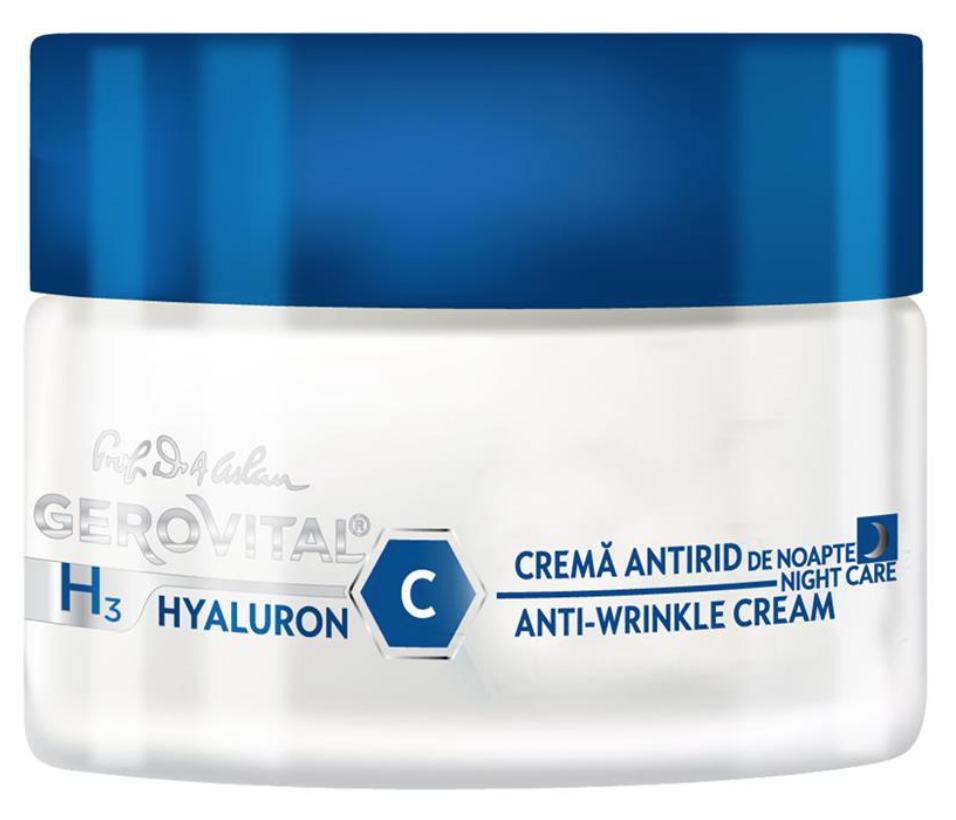 masca de noapte ten gras Gerovital H3 Hyaluron C Night Care crema antirid riduri vitamina c